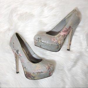 Floral Sequins Heels